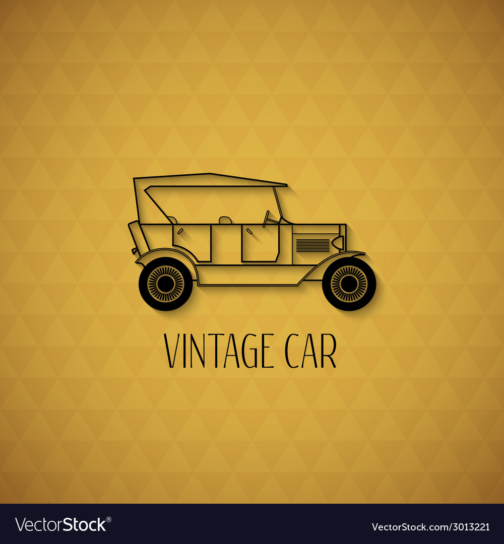 Retro cabriolet car vintage outline style vector | Price: 1 Credit (USD $1)