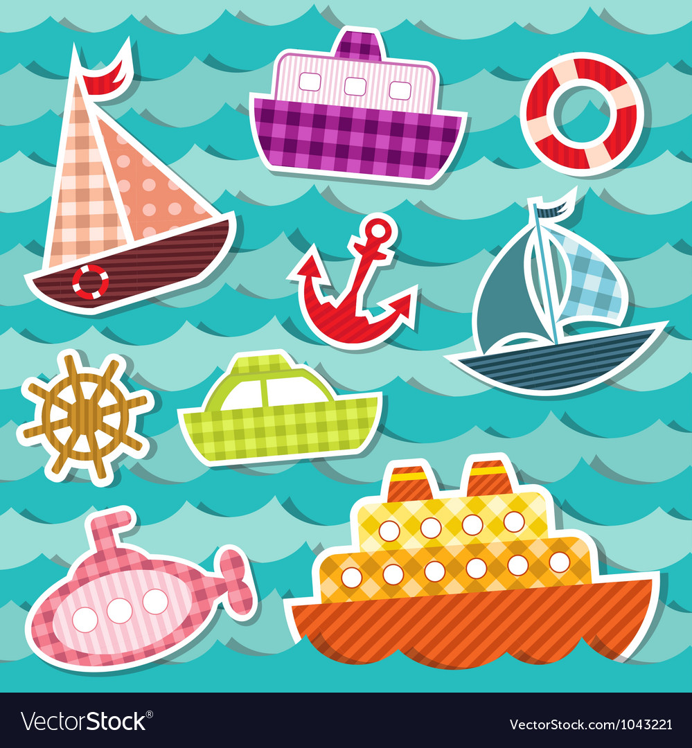 Set of sea transport stickers vector | Price: 1 Credit (USD $1)