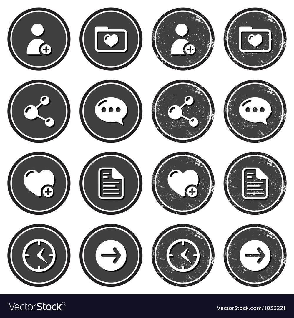 Website navigation icons on retro labels set vector | Price: 1 Credit (USD $1)