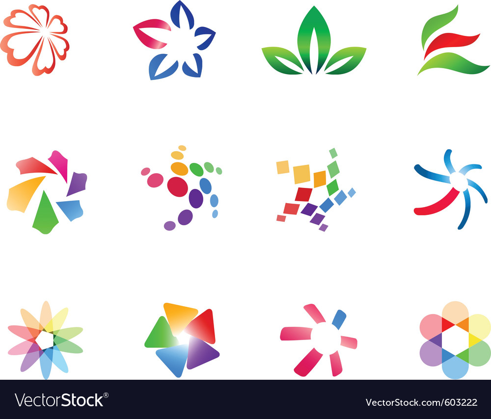 12 colorful symbols set 3 vector | Price: 1 Credit (USD $1)