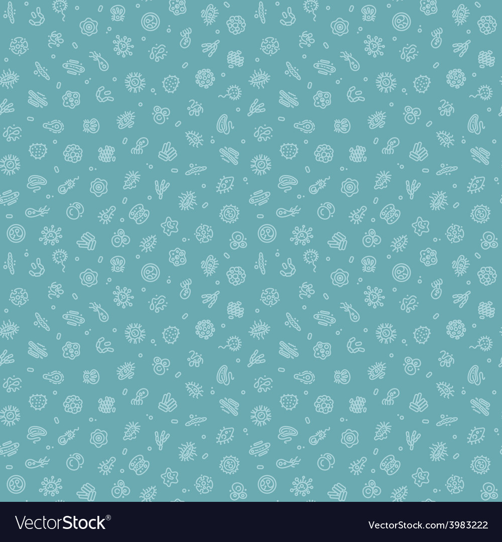Blue seamless pattern with bacteria and germs vector | Price: 1 Credit (USD $1)