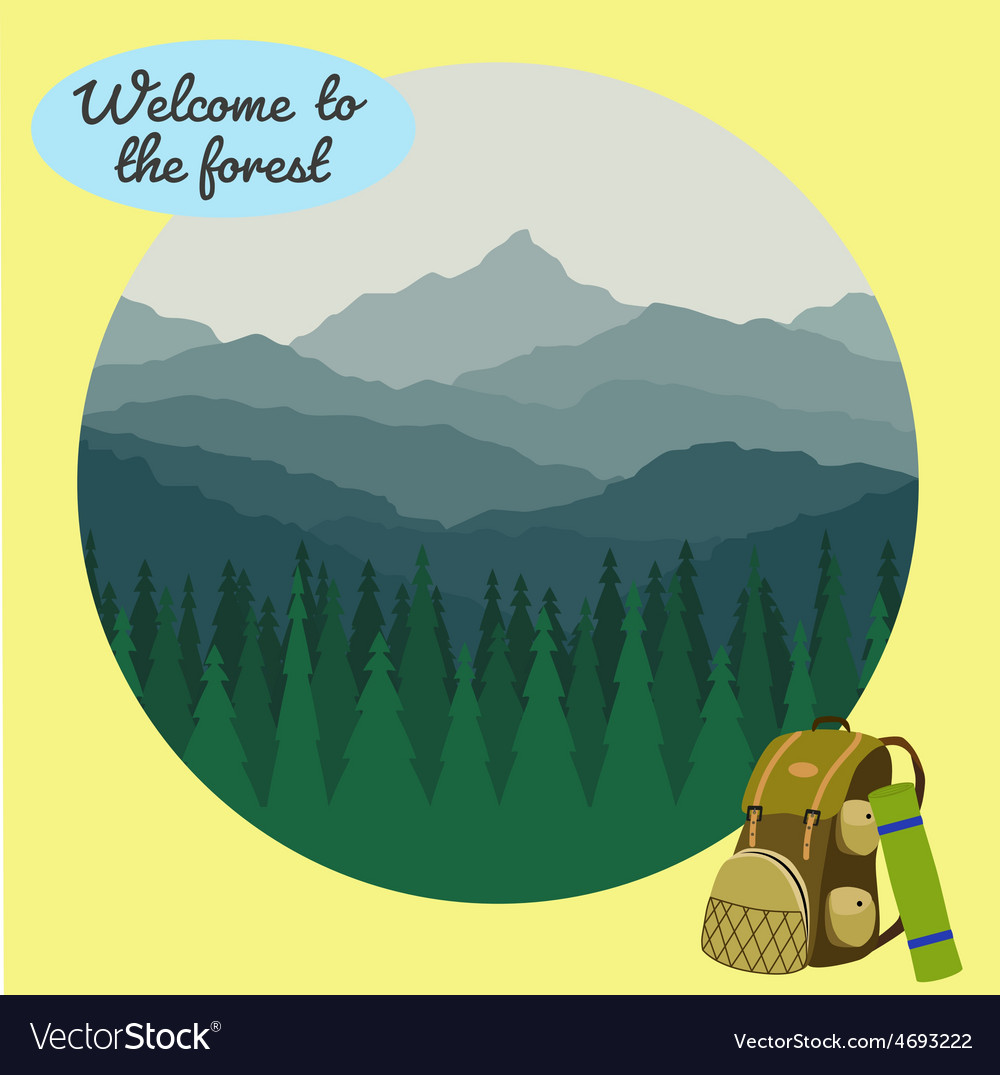 Camp in forest vector | Price: 1 Credit (USD $1)