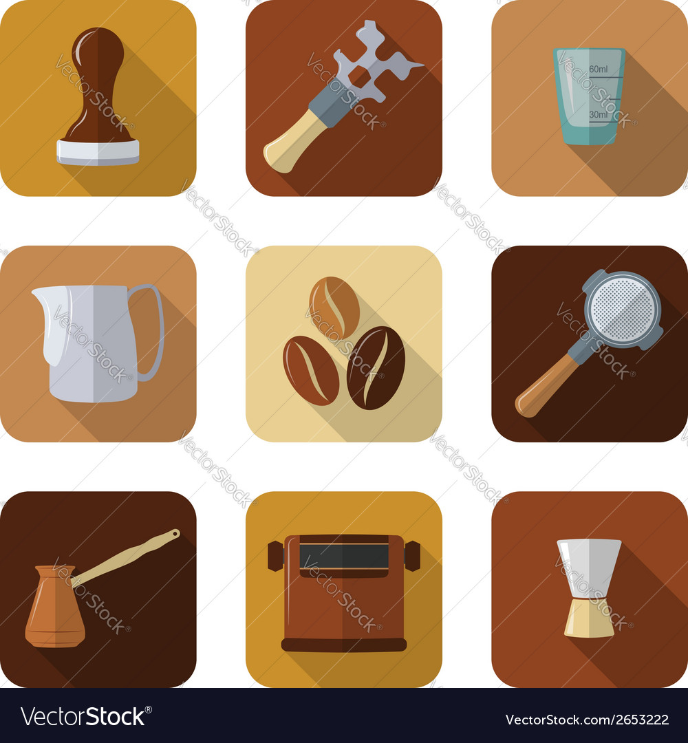 Coffee barista instruments icons set vector | Price: 1 Credit (USD $1)