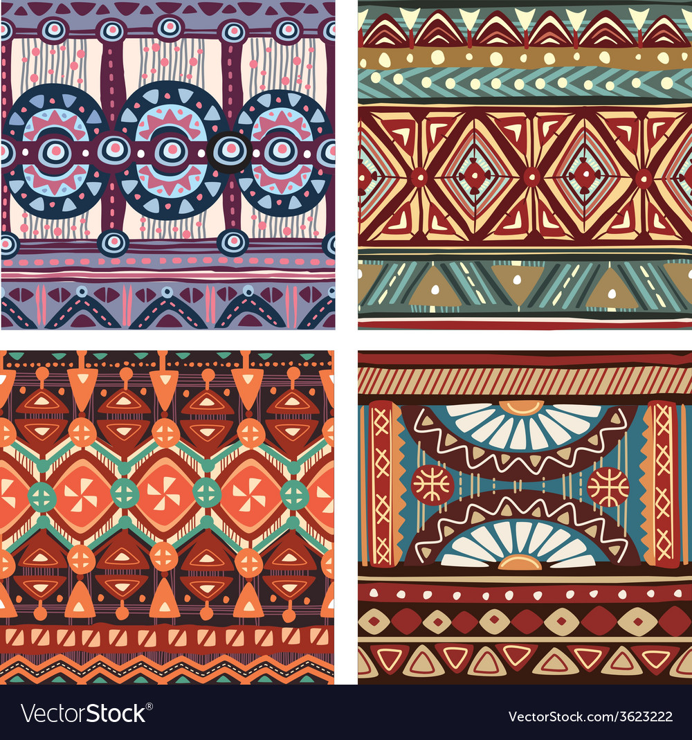 Color seamless tribal texture vector | Price: 1 Credit (USD $1)