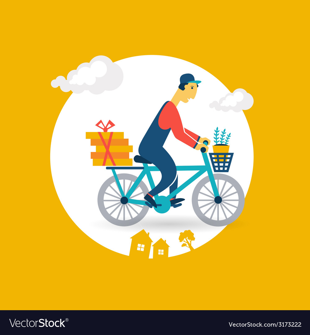 Courier rides a bicycle icon vector | Price: 1 Credit (USD $1)