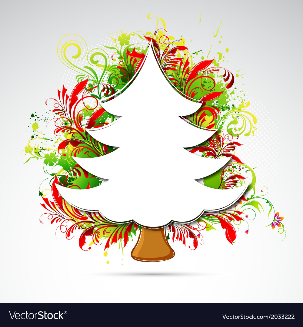 Floral christmas tree vector | Price: 1 Credit (USD $1)