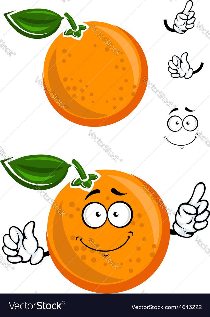 Happy juicy cartoon orange with green leaf vector   Price: 1 Credit (USD $1)