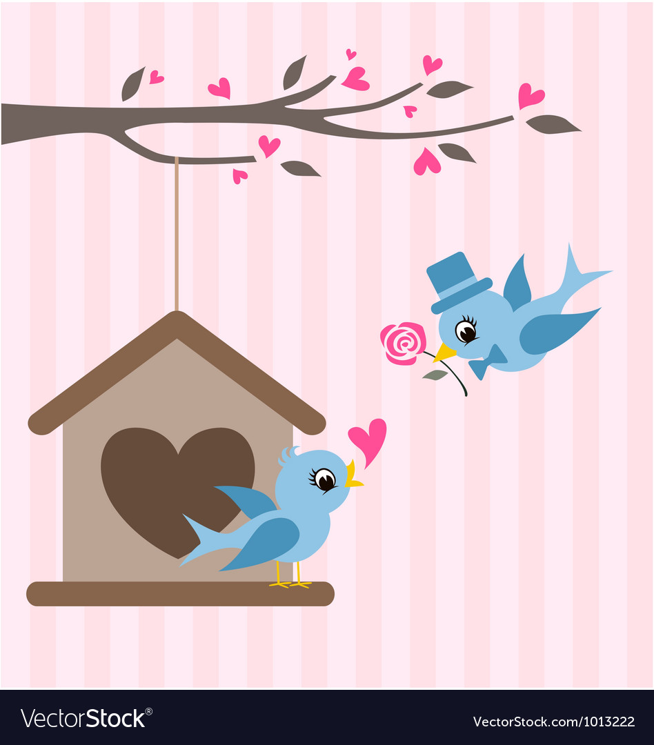 Love birds valentine greeting design vector | Price: 1 Credit (USD $1)