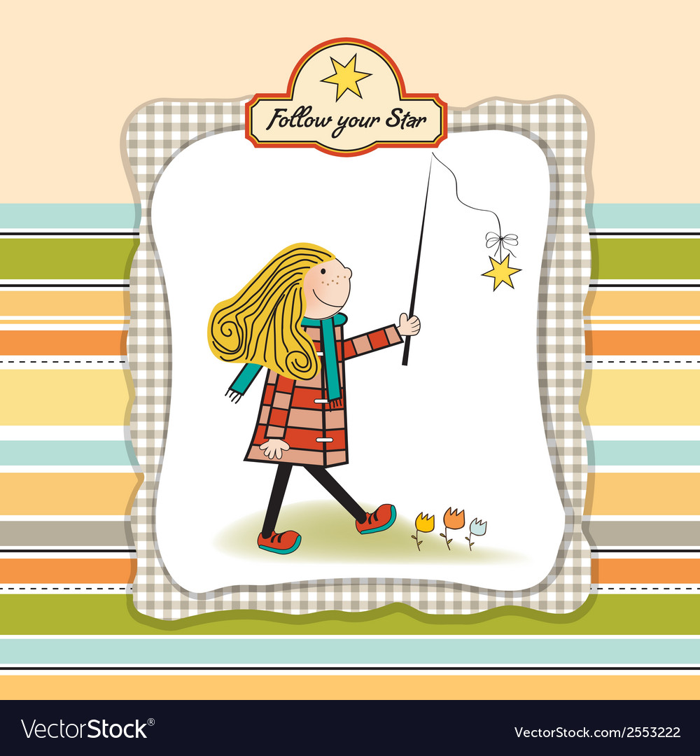 New star its bornwelcome baby card vector | Price: 1 Credit (USD $1)