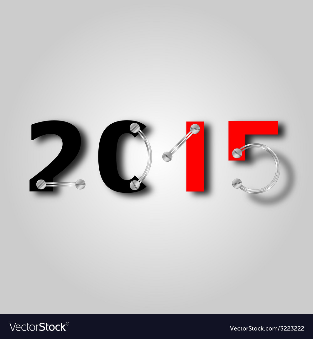 New year 2015 with plate and screws vector | Price: 1 Credit (USD $1)