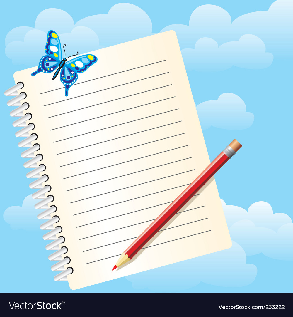 Notebook and butterfly vector | Price: 3 Credit (USD $3)