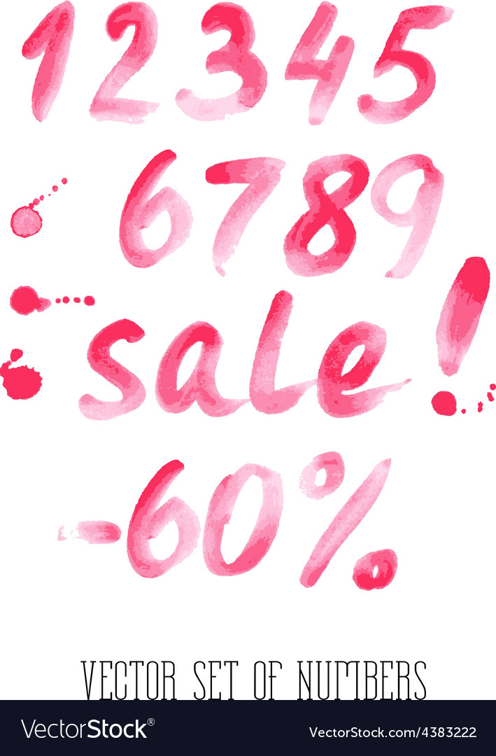 Numbers and sale set hand drawn letters vector | Price: 1 Credit (USD $1)