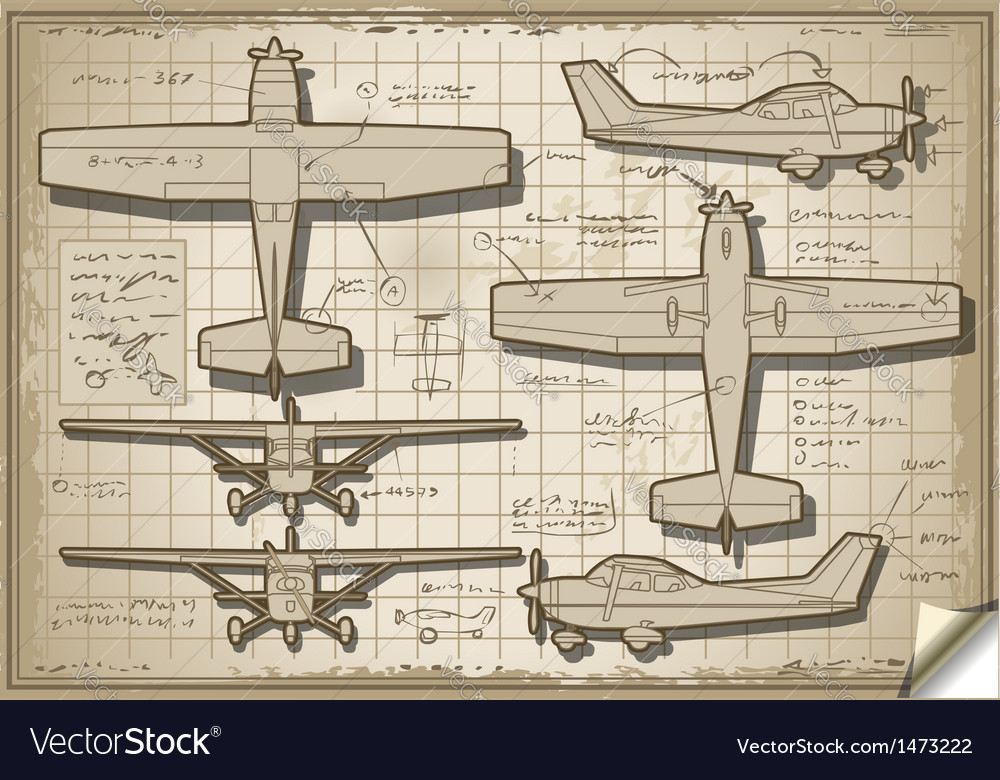 Old plane project in five views vector | Price: 1 Credit (USD $1)