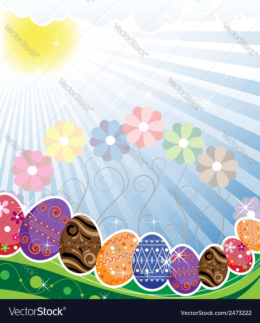 Original easter eggs on a spring meadow vector | Price: 1 Credit (USD $1)