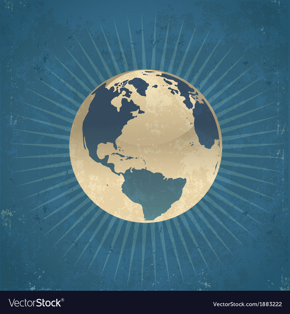 Retro planet earth vector | Price: 1 Credit (USD $1)