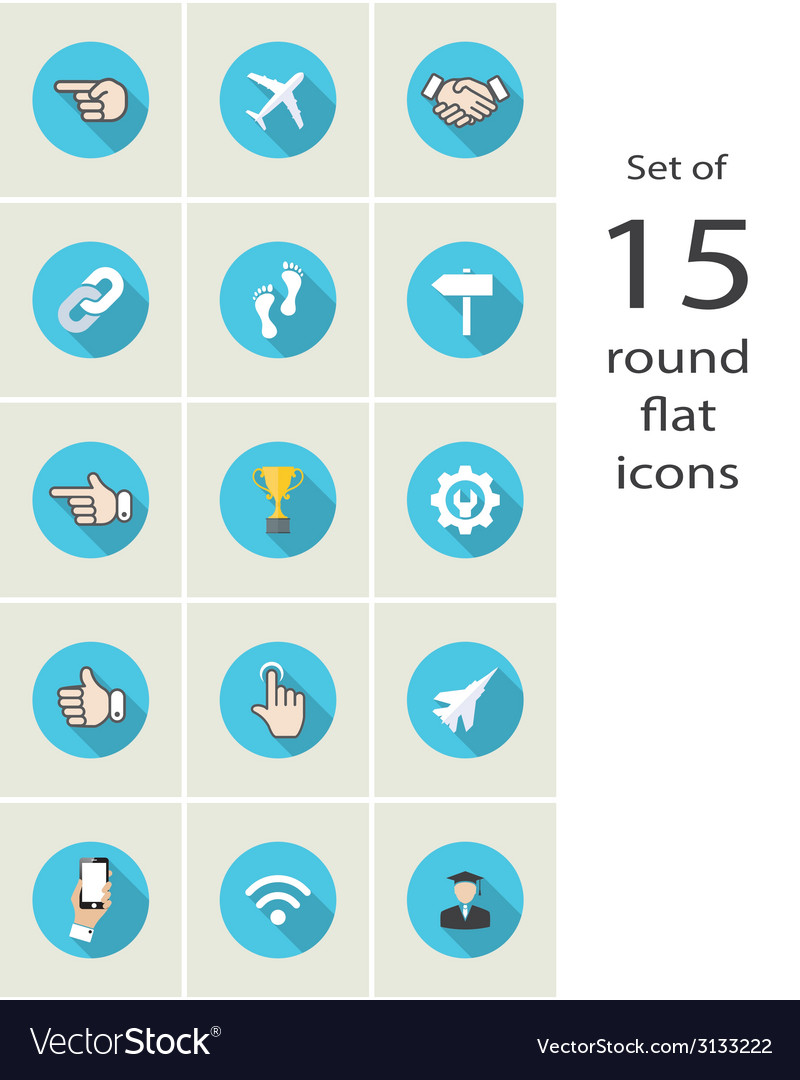 Round flat icons vector   Price: 1 Credit (USD $1)