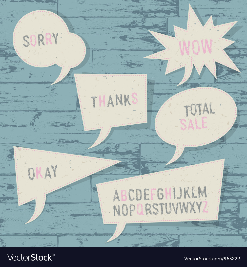 Sample text and sketch alphabet in speech bubbles vector | Price: 1 Credit (USD $1)