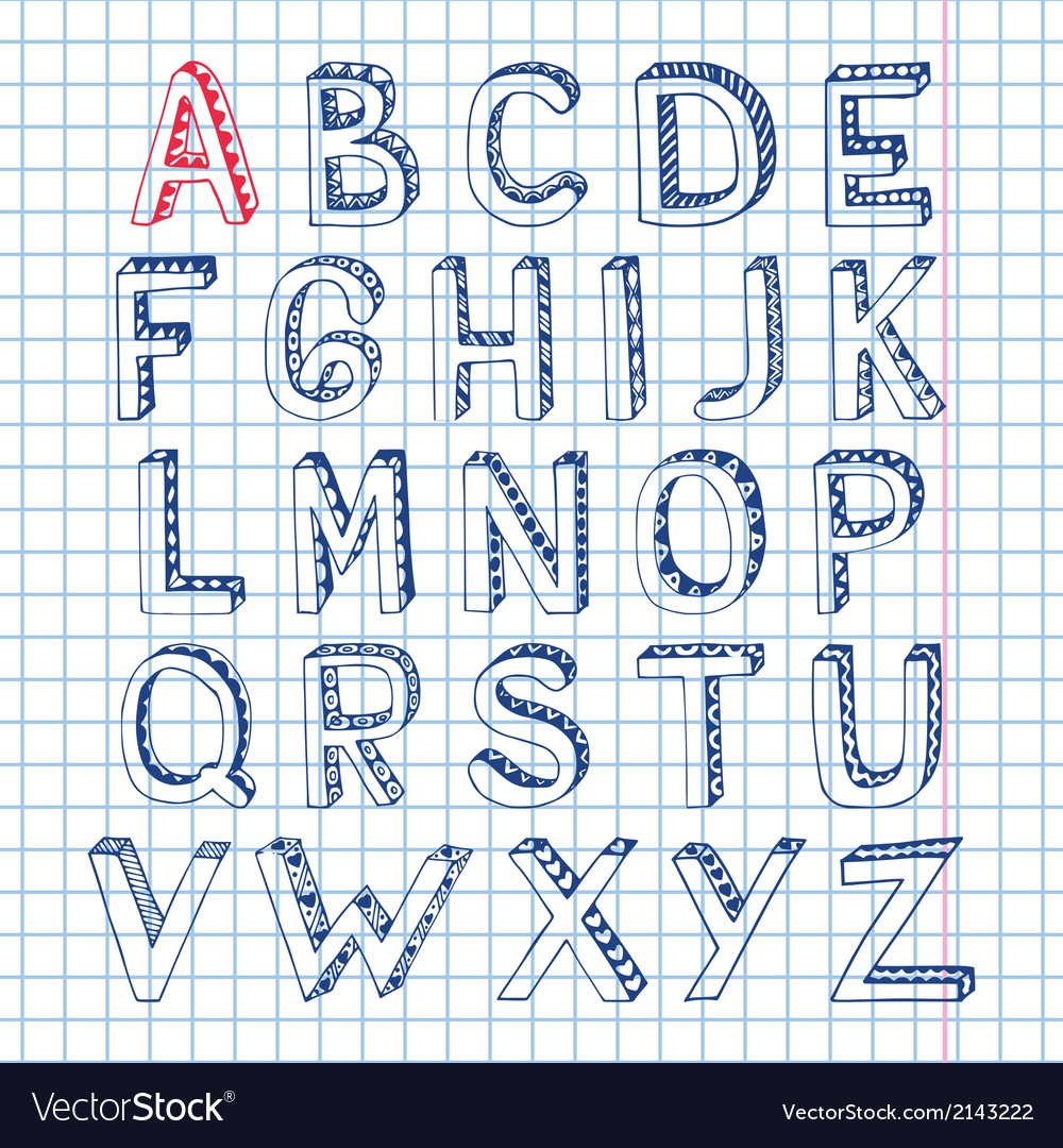 Sketch alphabet font notebook vector | Price: 1 Credit (USD $1)