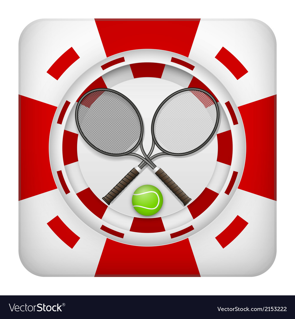 Square red casino chips of tennis sports betting vector | Price: 1 Credit (USD $1)