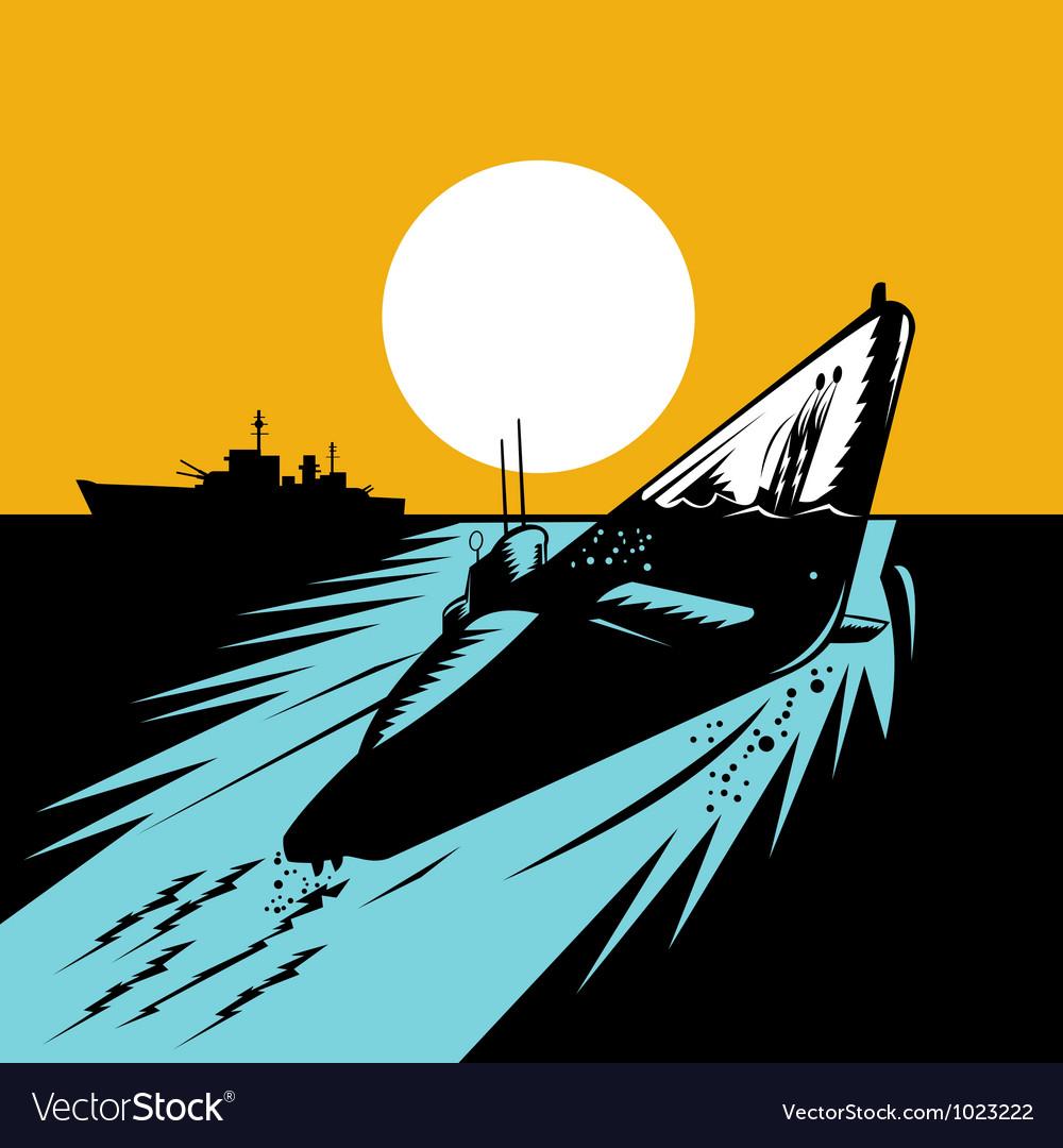 Submarine boat retro vector   Price: 1 Credit (USD $1)