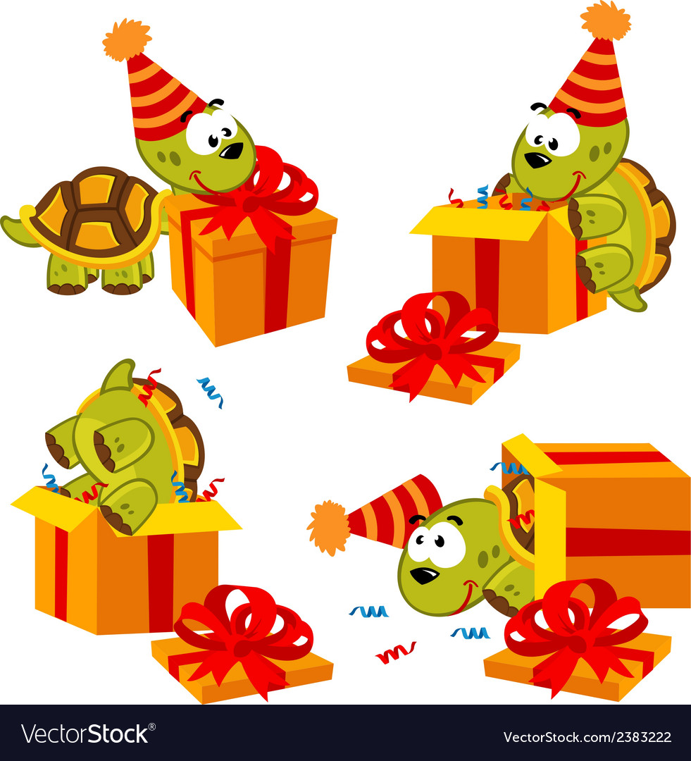 Turtle and gift vector | Price: 1 Credit (USD $1)