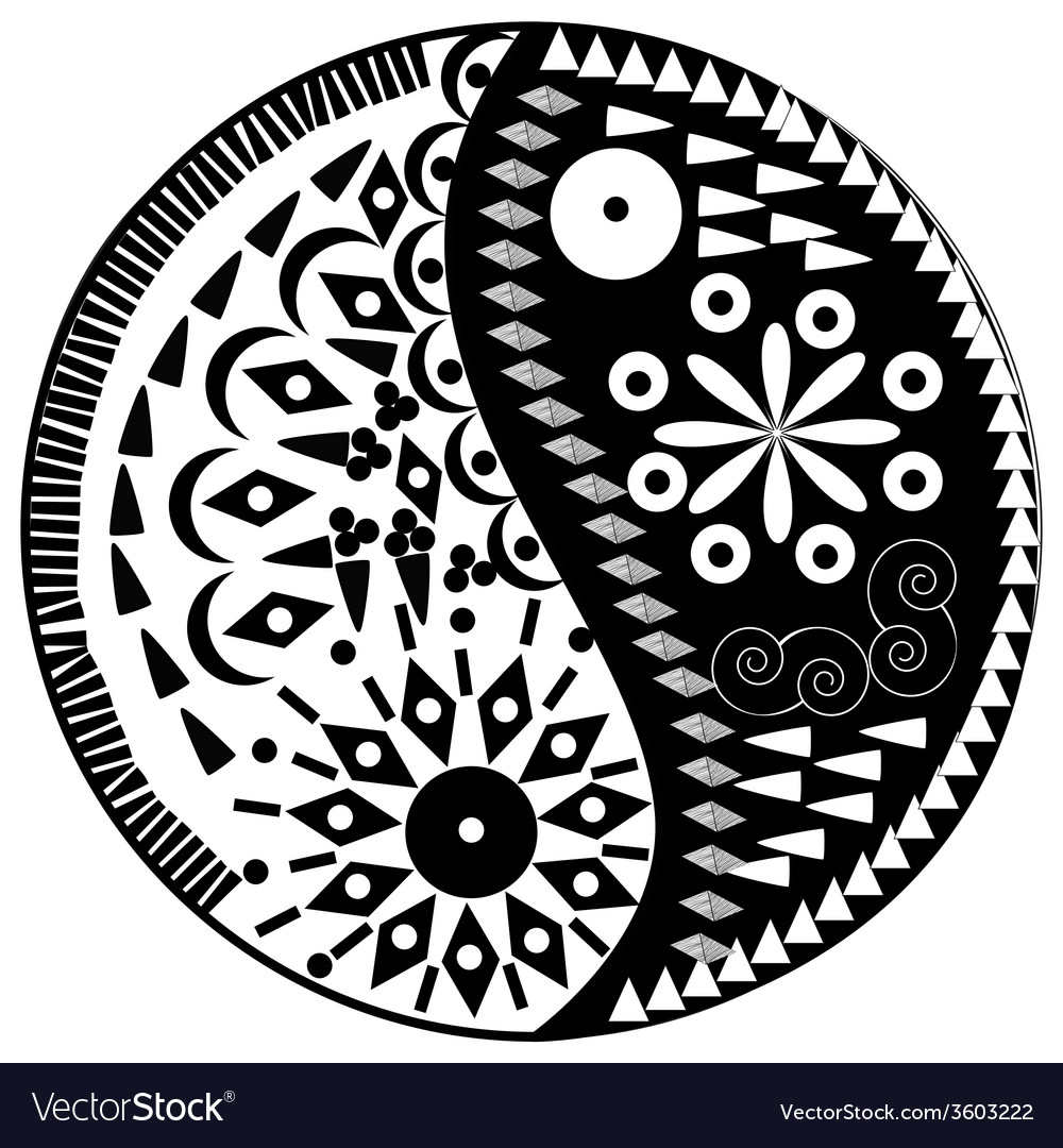 Yin yang symbol asian decoration element vector | Price: 1 Credit (USD $1)
