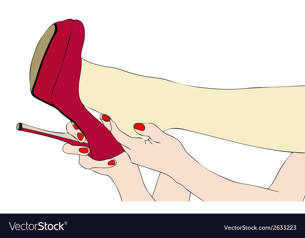 A woman takes off her high heeled shoes vector | Price: 1 Credit (USD $1)