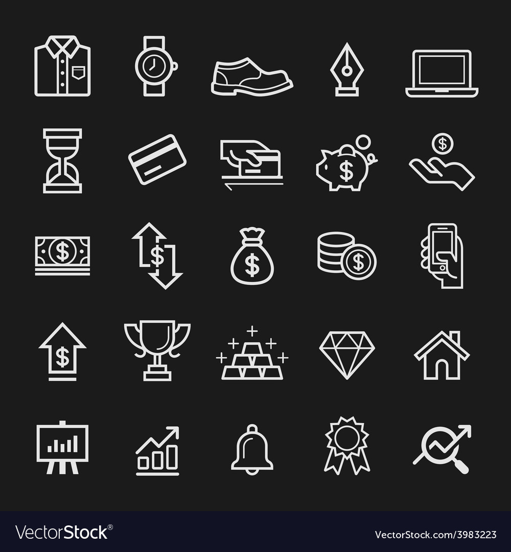 Business element line icons vector | Price: 1 Credit (USD $1)