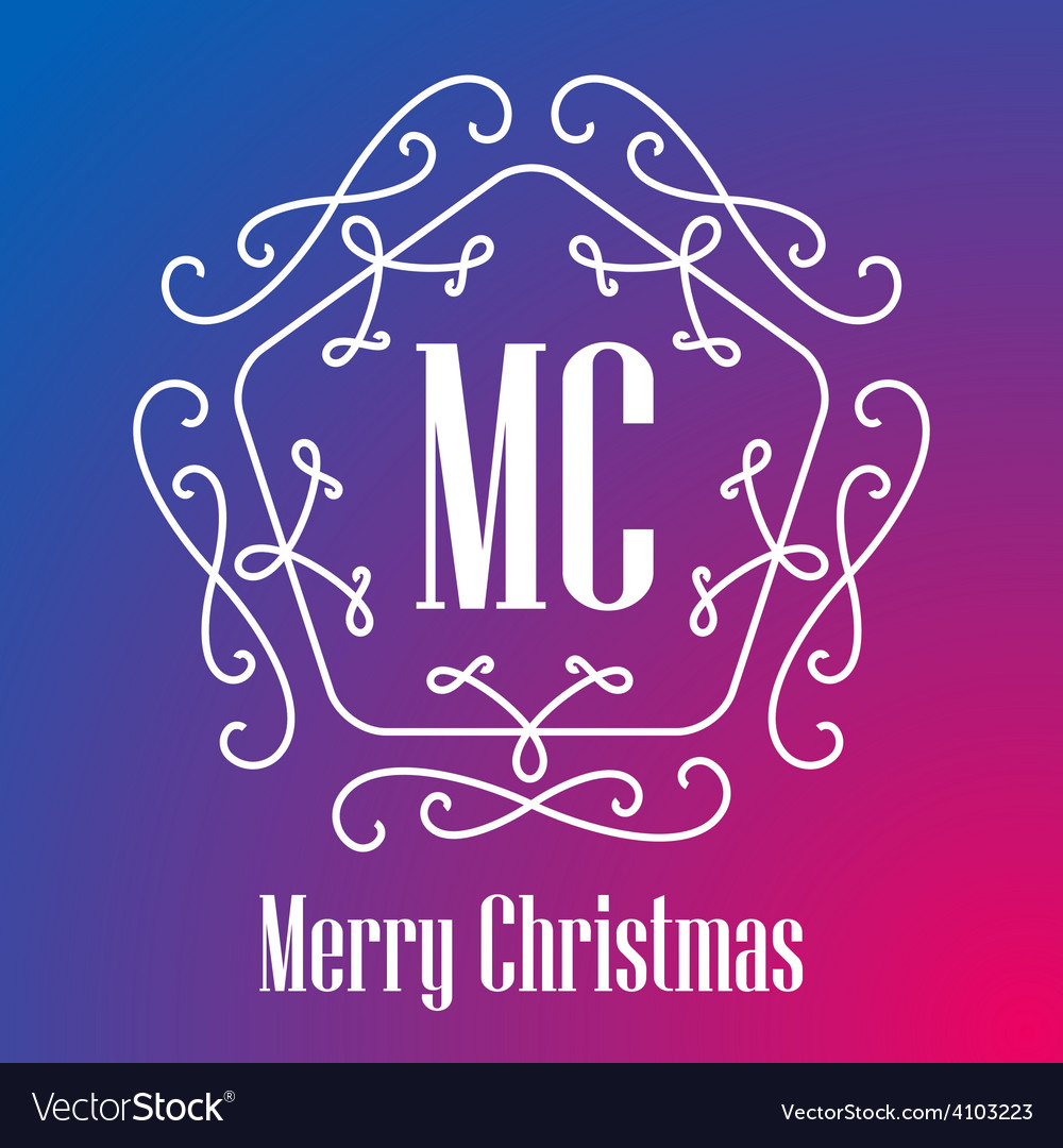 Christmas festive card monograms style lineart vector | Price: 1 Credit (USD $1)