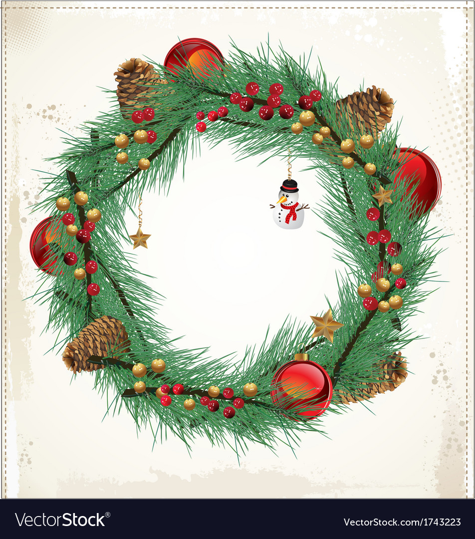 Christmas floral wreath vector | Price: 1 Credit (USD $1)