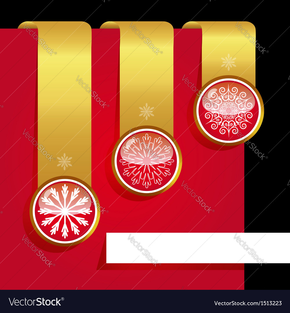 Christmas ribbon set with snowflakes vector | Price: 1 Credit (USD $1)