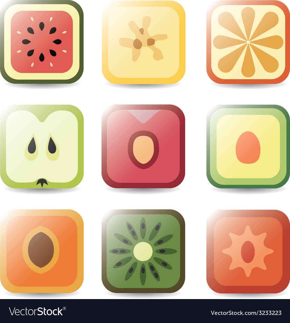 Fruit application icons vector | Price: 1 Credit (USD $1)