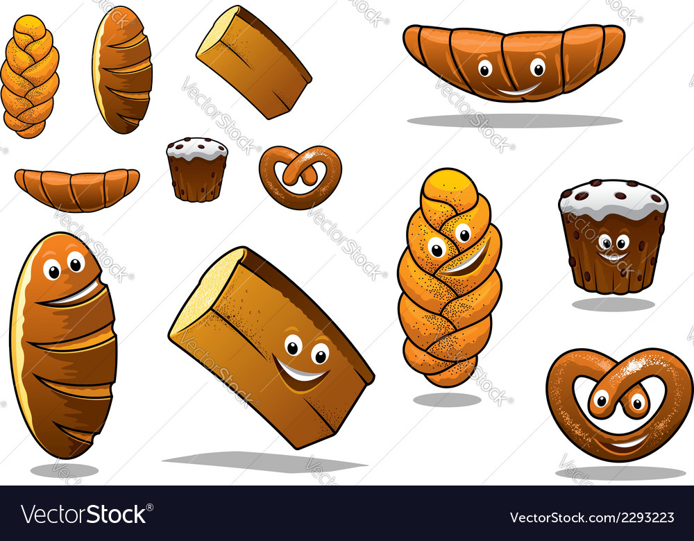 Large set of cartoon loaves of bread vector | Price: 1 Credit (USD $1)