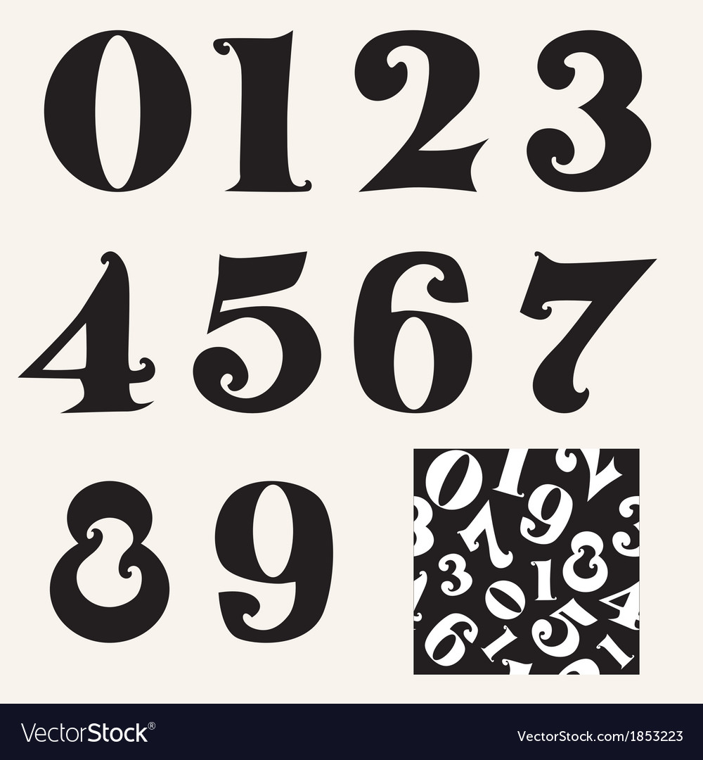 Set of numbers vector | Price: 1 Credit (USD $1)
