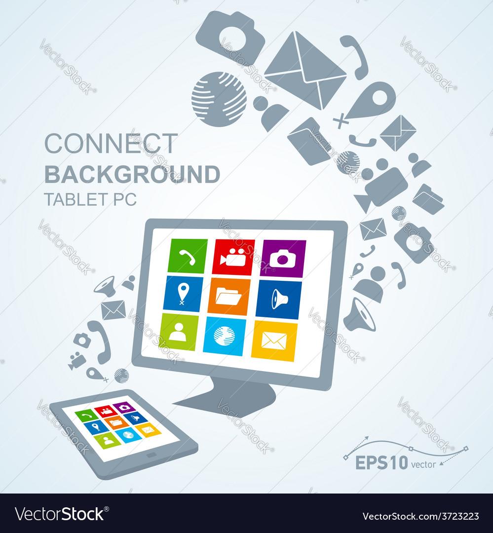 Tablet pc copy file computer vector | Price: 1 Credit (USD $1)