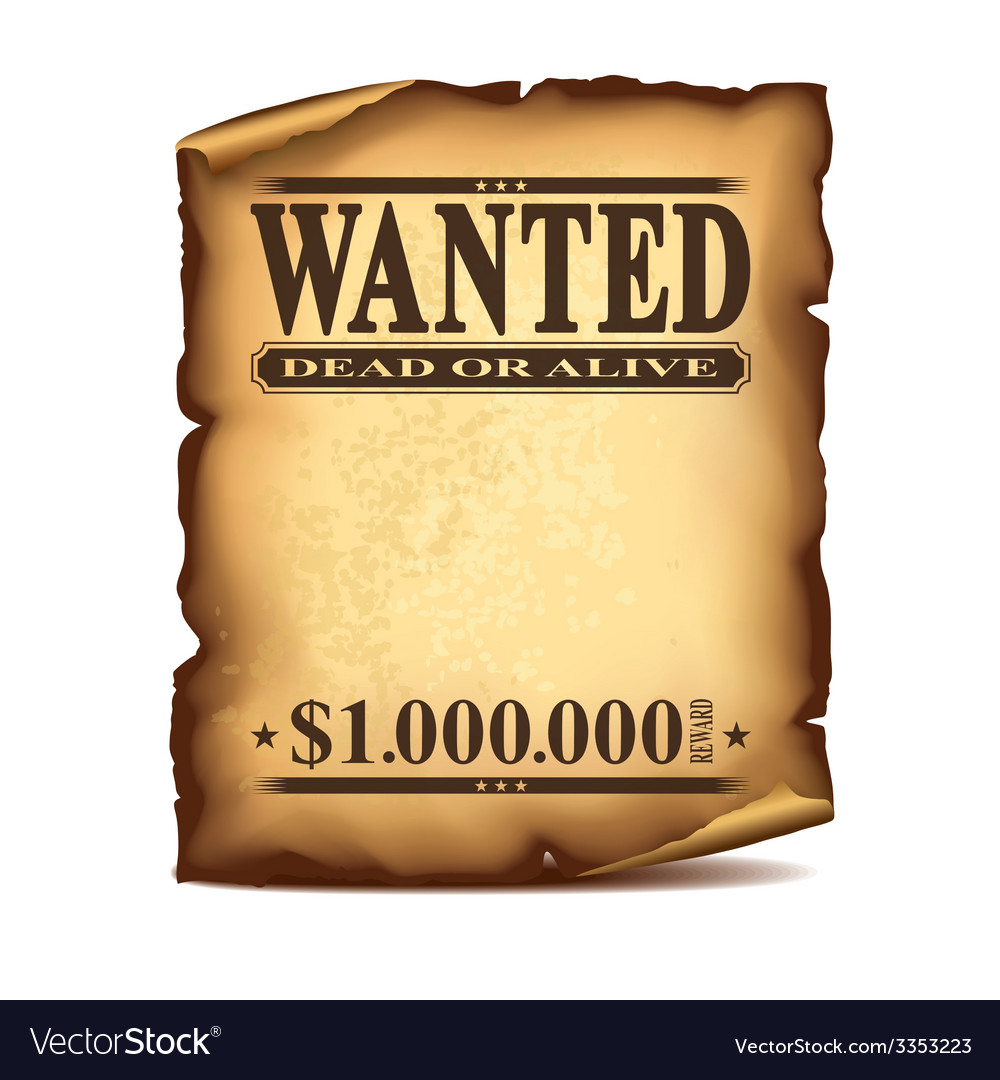 Wintage wanted poster isolated vector
