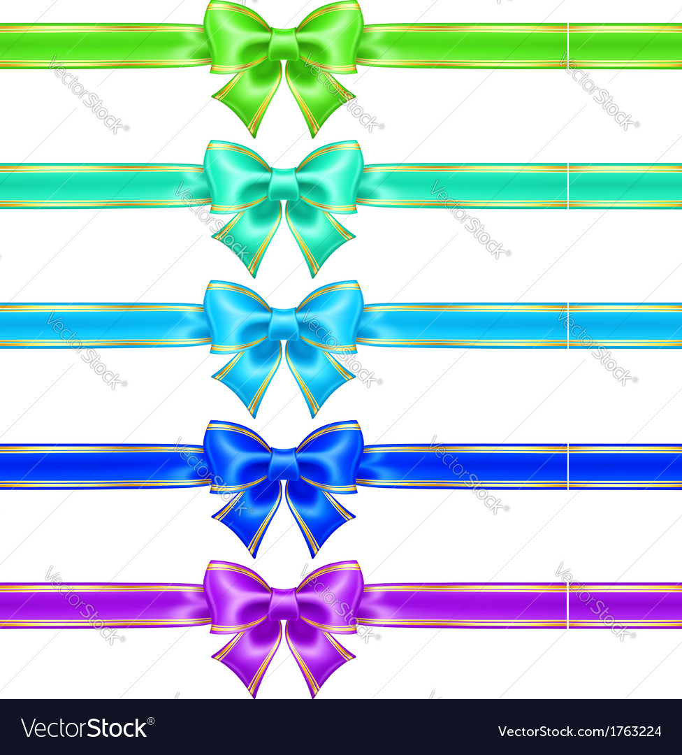 Bows with edging and ribbons in cool colors vector | Price: 1 Credit (USD $1)