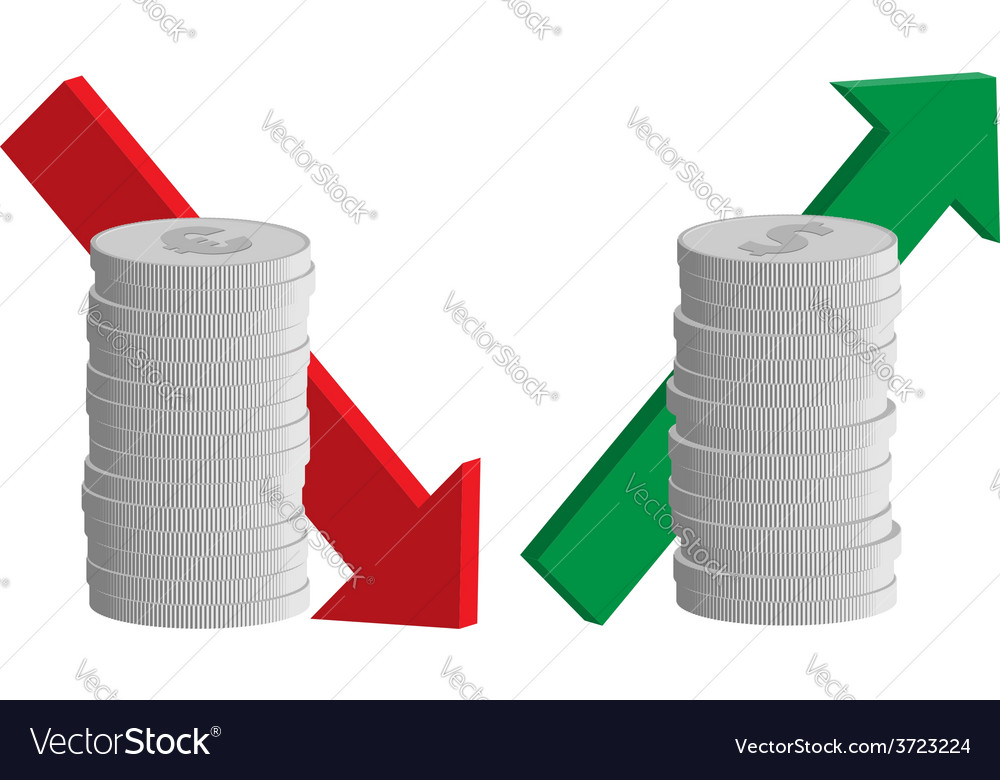 Currency exchange rate euro down dollar up vector   Price: 1 Credit (USD $1)