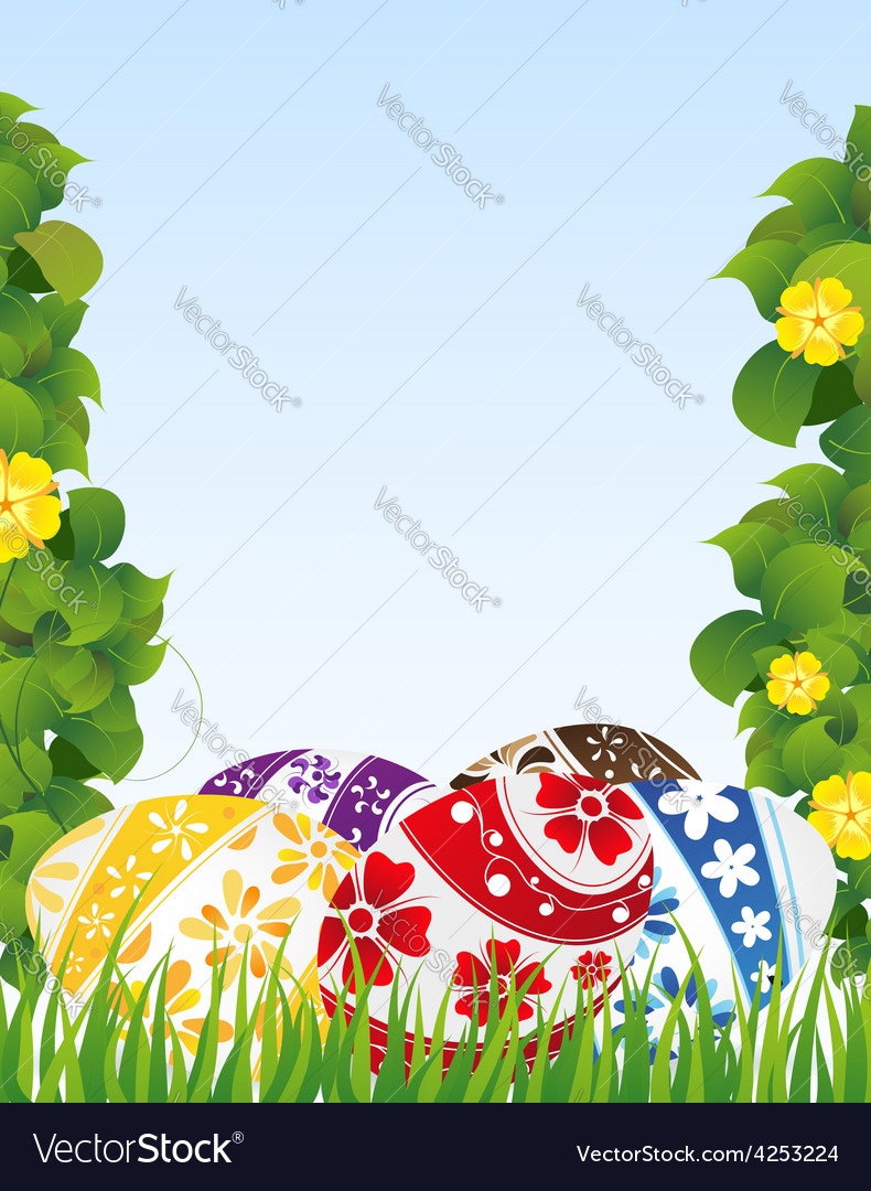 Easter eggs and yellow flowers vector | Price: 3 Credit (USD $3)