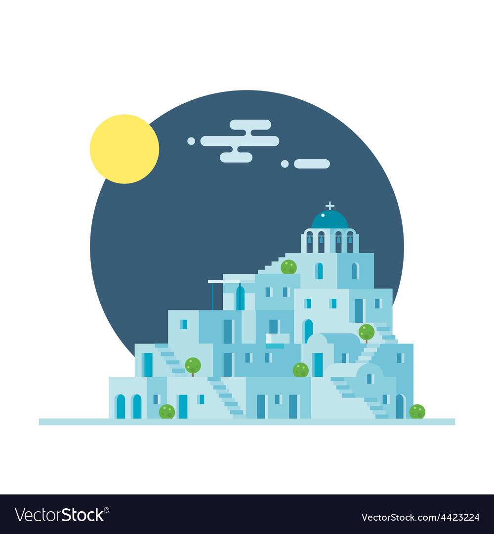 Flat design of santorini greece village vector | Price: 3 Credit (USD $3)