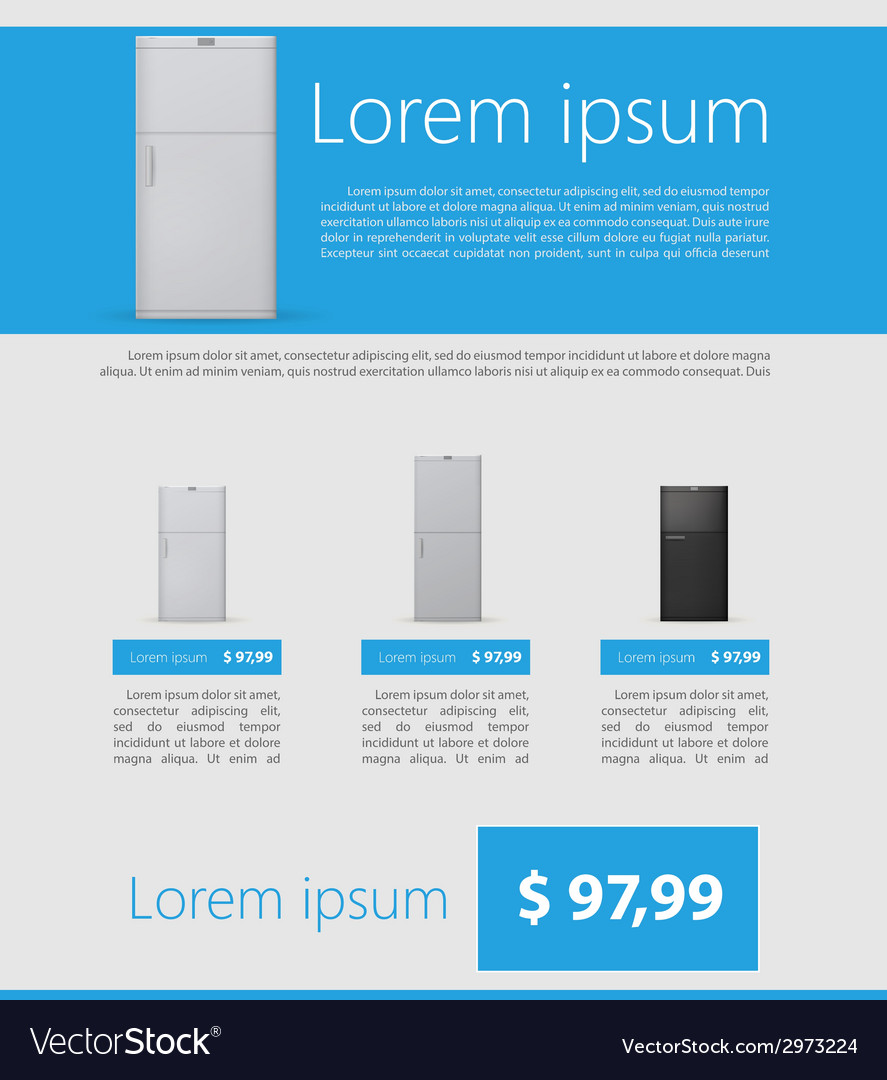 Flat minimalist template business design fridges vector | Price: 1 Credit (USD $1)