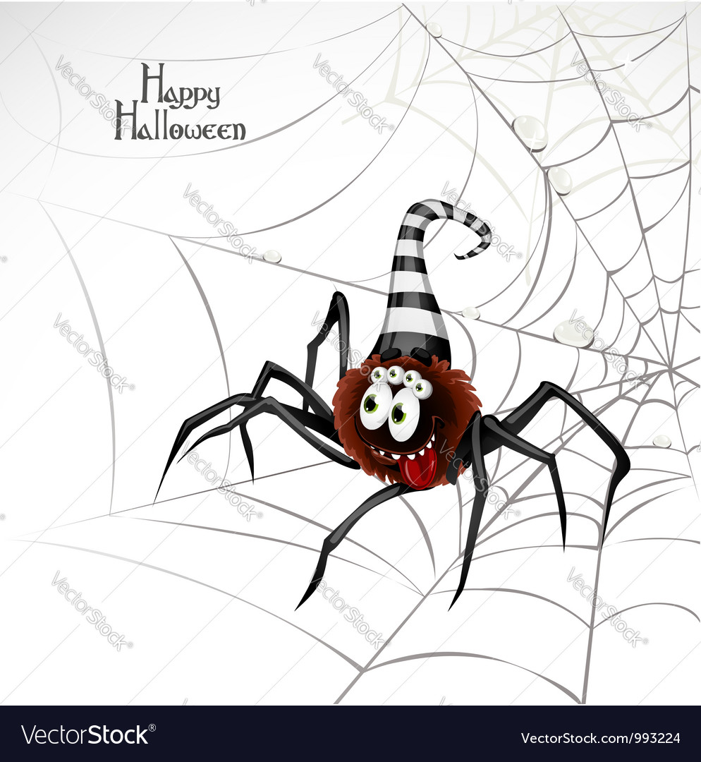 Halloween spider card vector | Price: 1 Credit (USD $1)