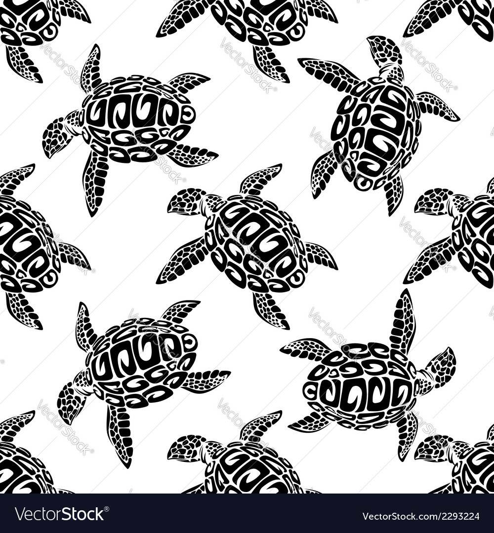 Marine turtles seamless background pattern vector | Price: 1 Credit (USD $1)