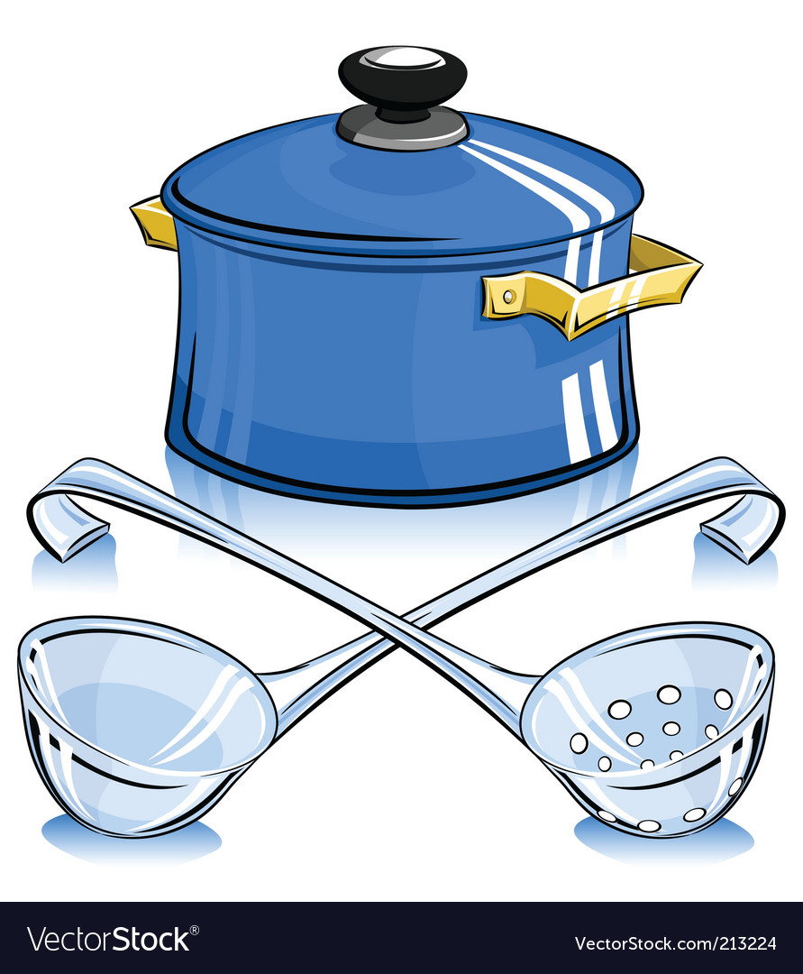 Pan with lid and ladle vector | Price: 1 Credit (USD $1)