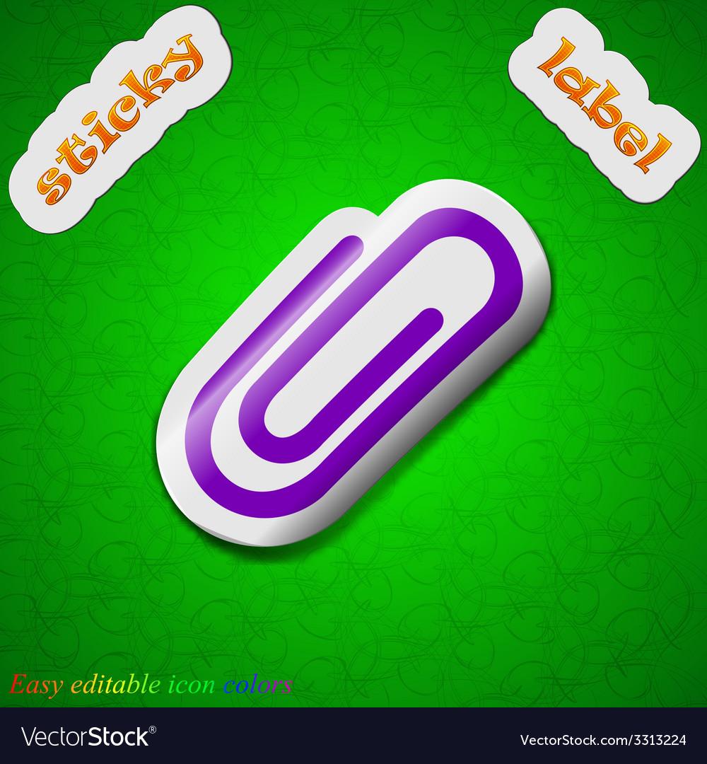 Paper clip icon sign symbol chic colored sticky vector | Price: 1 Credit (USD $1)