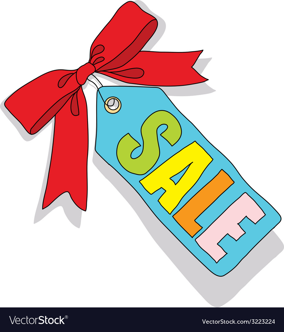 Sale label with colored letters and a red bow vector | Price: 1 Credit (USD $1)