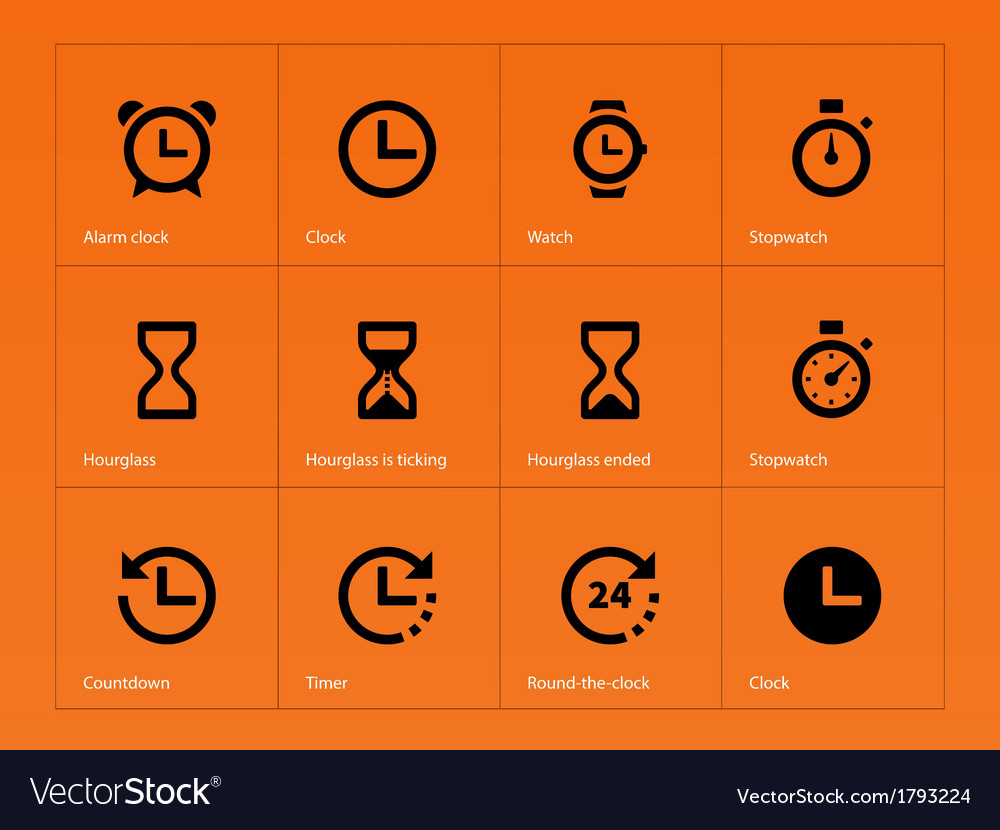 Time and clock icons on orange background vector | Price: 1 Credit (USD $1)