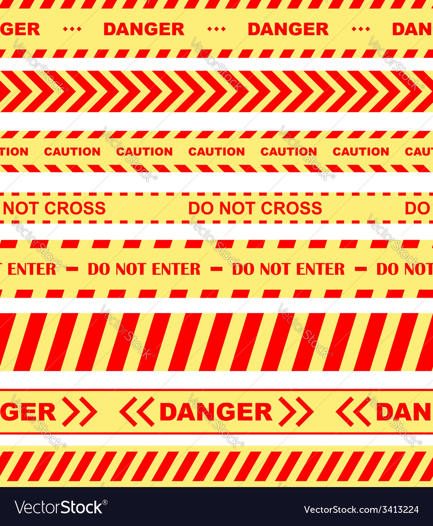 Warning danger and caution tapes or ribbons vector | Price: 1 Credit (USD $1)