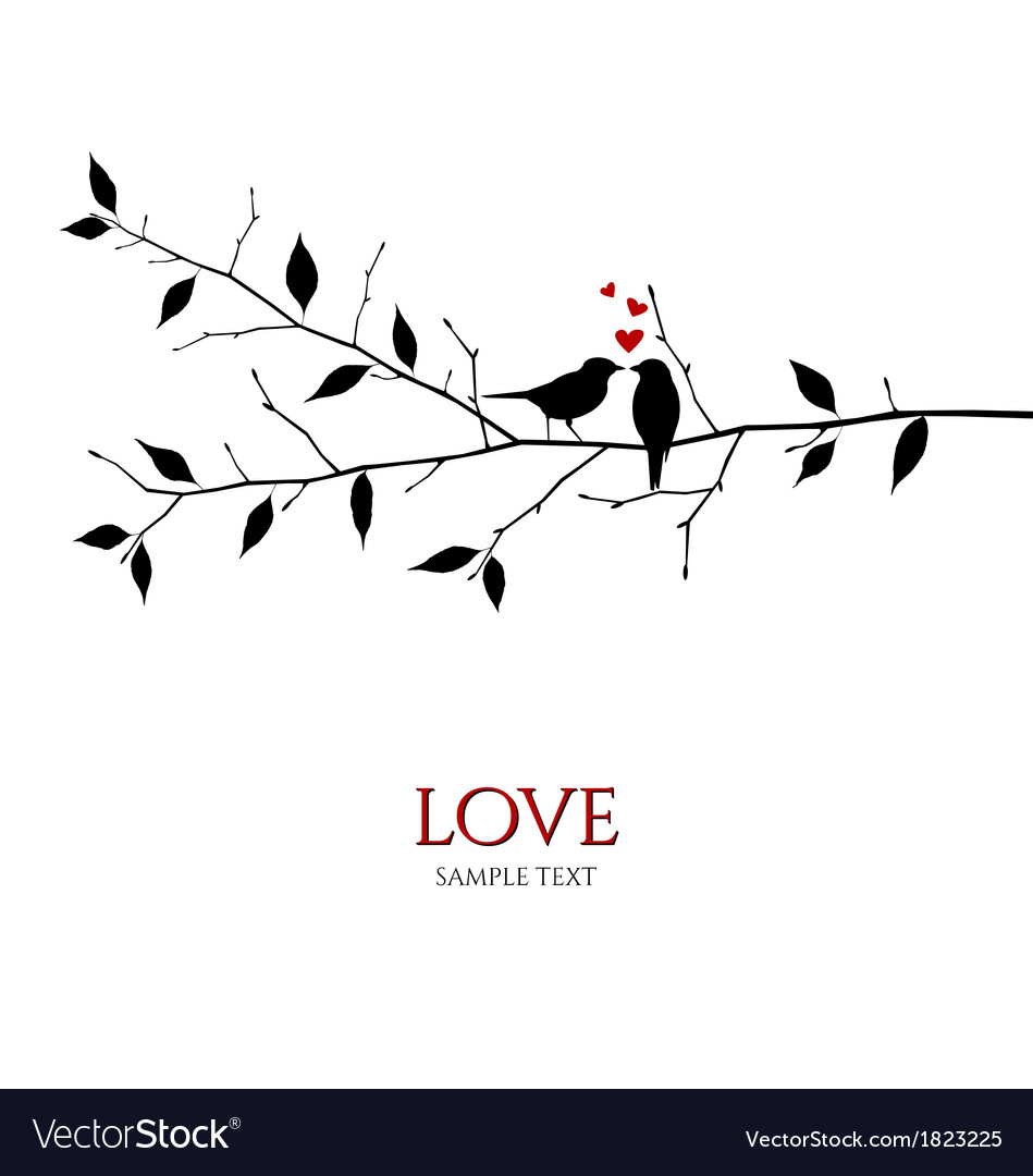 Bird couple on tree branch - love concept vector | Price: 1 Credit (USD $1)