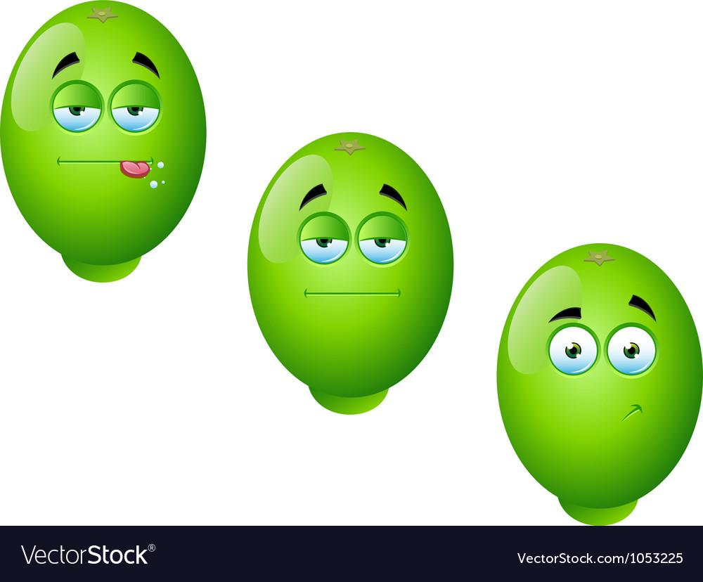 Cartoon lime fruit set 1 vector | Price: 1 Credit (USD $1)
